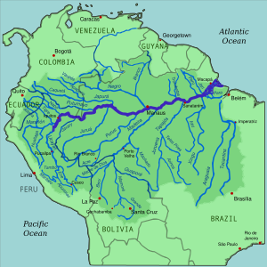 The Amazon River, in South America, has the largest basin of any river on earth.