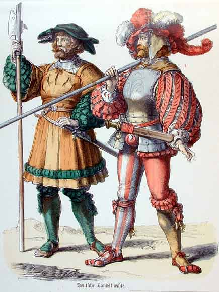 "German ""Land Knights"" (foot soldiers)--known for their colorful and avant garde clothing"