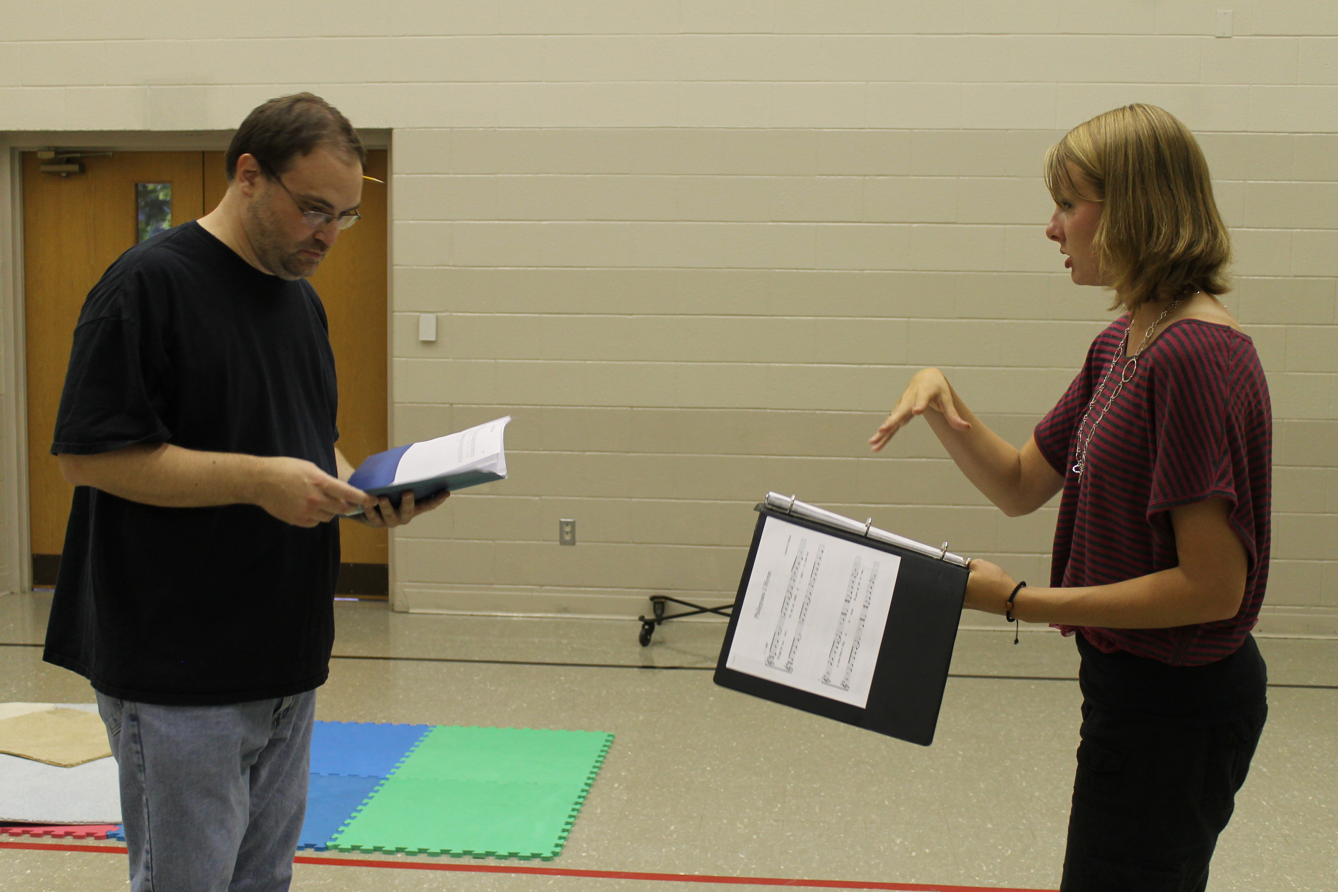 Kayla and Scott Kump (the apostle Paul) working on lines and blocking.