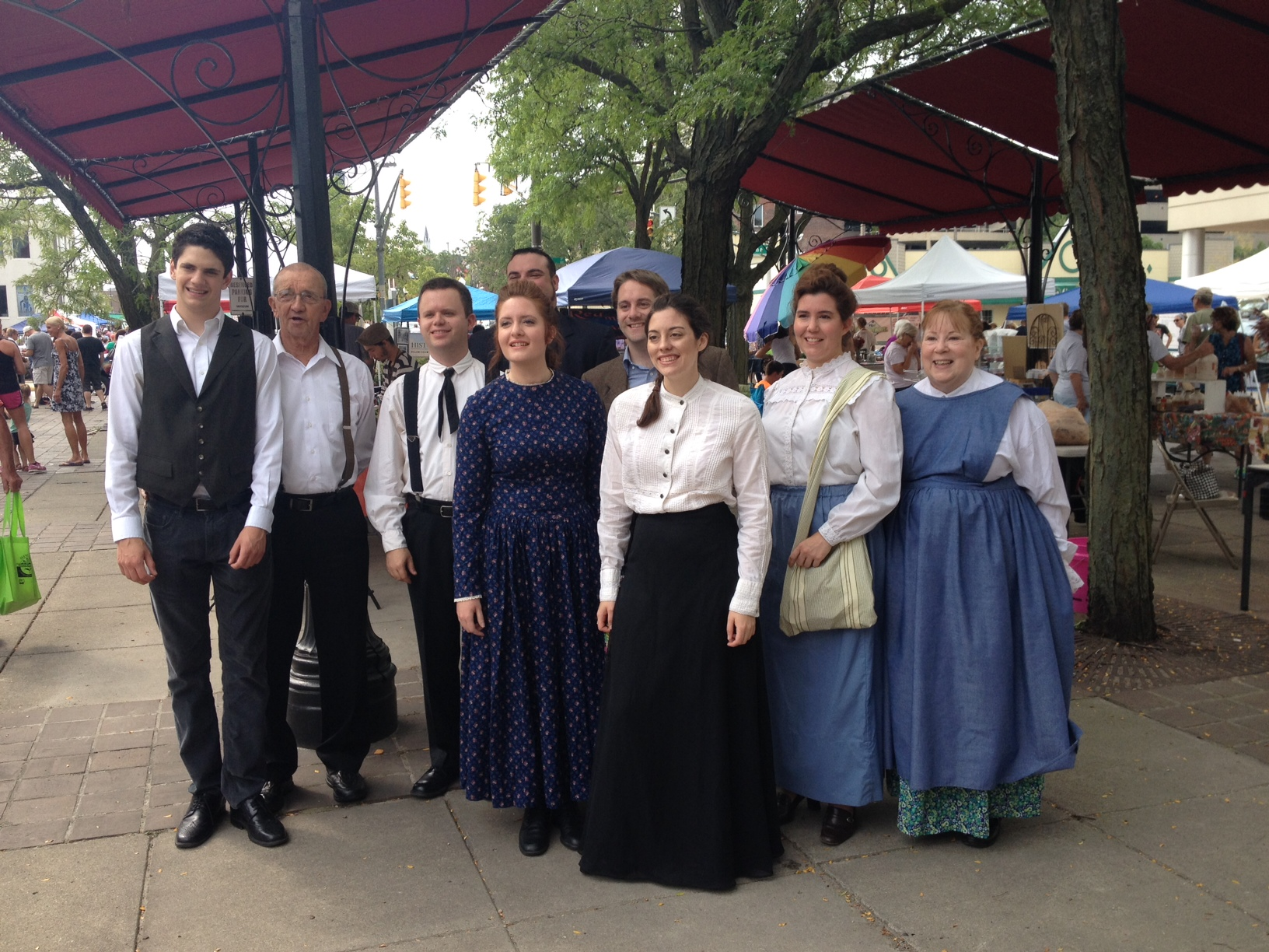 Some of the cast of BEND US, at Taste of the Arts on August 29, 2015.